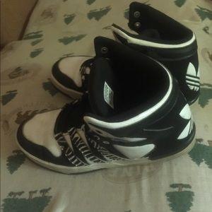 adidas Shoes - adidas 7 1/2 zebra hightops basketball shoes 7.5